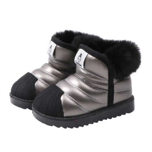 Toddler Kids Boy Girl Fur Lined Snow Boots Children Waterproof Winter Shoes Size