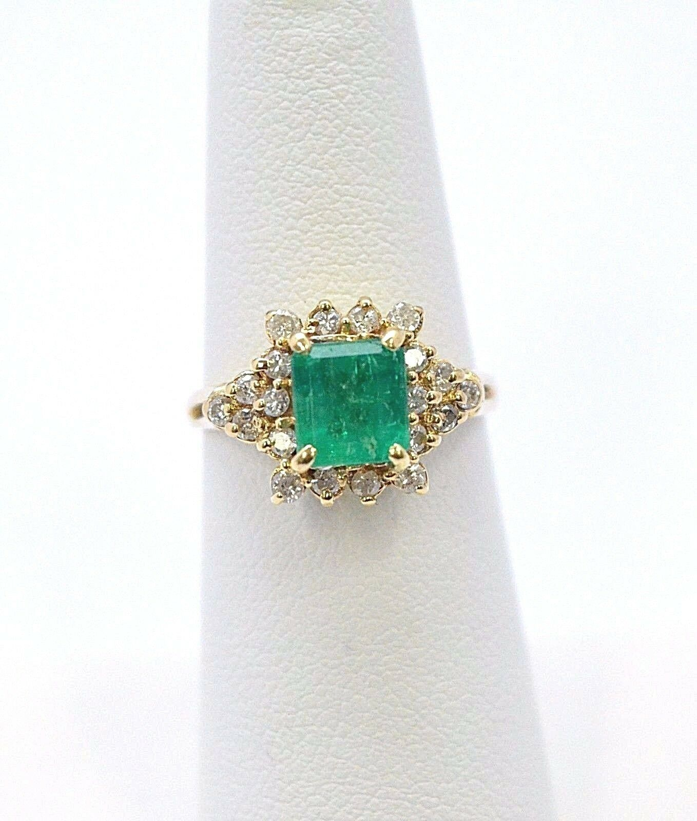 2150-VINTAGE LOOK 14K YELLOW gold EMERALD & DIAMOND RING  3.80 GRAMS SIZE 6
