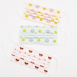 Kinder Einweg Mundschutz Maske Gesichtsmaske 3-lagig mit Bär Smiley-Motiv 0-10J.