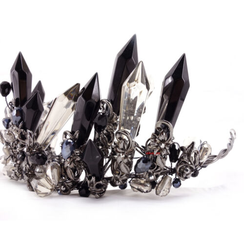 10cm High Superb Black Clear Crystal Wedding Party Pageant Prom Crown Earrings