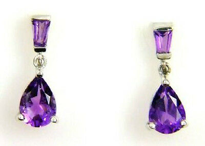 Pear Shape Amethyst Drop Earrings Sterling Silver
