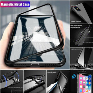 FUNDA-CARCASA-Marco-de-metal-magnetico-VIDRIO-para-Apple-Iphone-6s-7-8-Plus-X