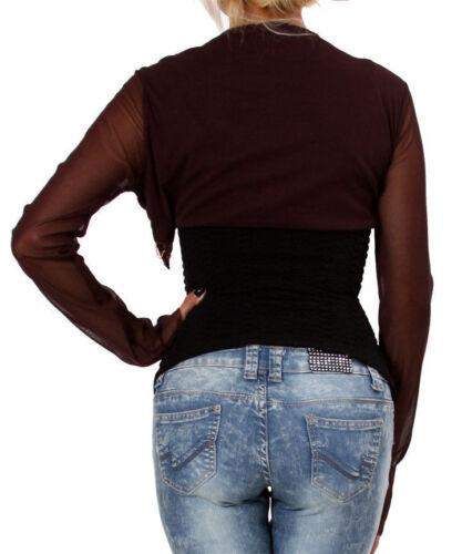 Brown sheer nylon short waist Bolero Jacket w//gold deco designs Petite One Size.