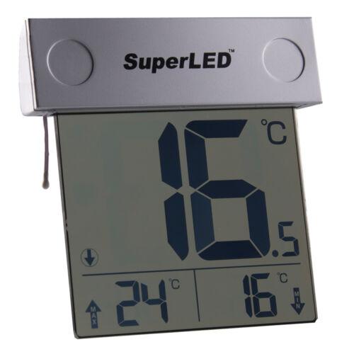 SOLAR POWERED OUTDOOR Finestra Termometro SUPERLED