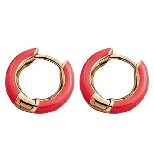 LN/_ Women Charm Color Block Circle Enamel Huggie Earrings Party Jewelry Gift P