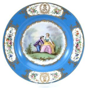 Antique-Sevres-1844-Chateau-Tuileries-Hand-Painted-Fine-Bone-China-Plate-H648
