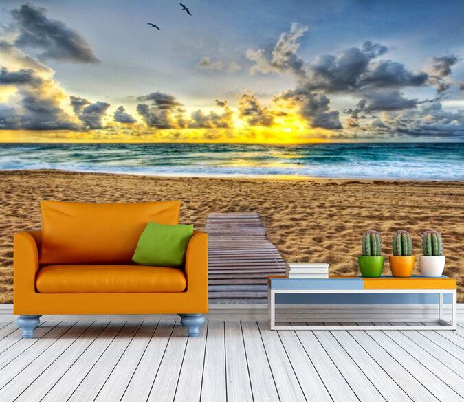 3D Spuren im Sand seevögel Fototapeten Wandbild Fototapete BildTapete Familie DE