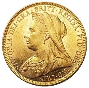 1896-M Queen Victoria Widow Head Gold Sovereign (Melbourne)