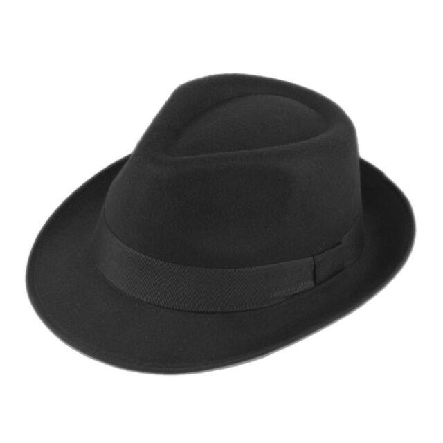 Women Men Vintage Bowler Felt Fedora Trilby Hat Ribbon Band Black Color Free P&P