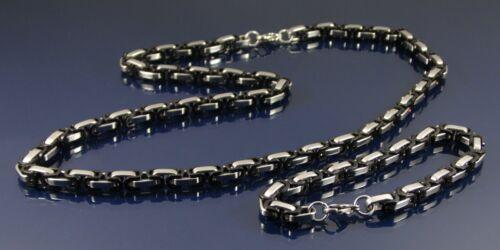 Conjunto De Collar Y Pulsera De Acero Inoxidable Negro y Plata Cadena Bizantina