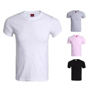 Unisex-Tops-T-Shirt-Tee-Plain-Short-Sleeve-Undergarment-Crew-Neck-Solid-Casual
