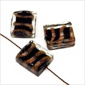Lot-de-4-Perles-en-Verre-Lampwork-Feuille-d-039-or-Rectangles-16x14mm-Noir