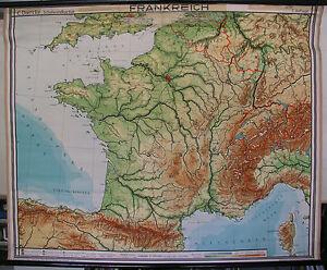Schulwandkarte Map France La France Alps Paris 1954 164x132 Old ...