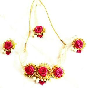 2081d51ea04fa Details about Ambika Designs Magenta Gota Patti Jewelry Necklace With Maang  Tika & Earrings .