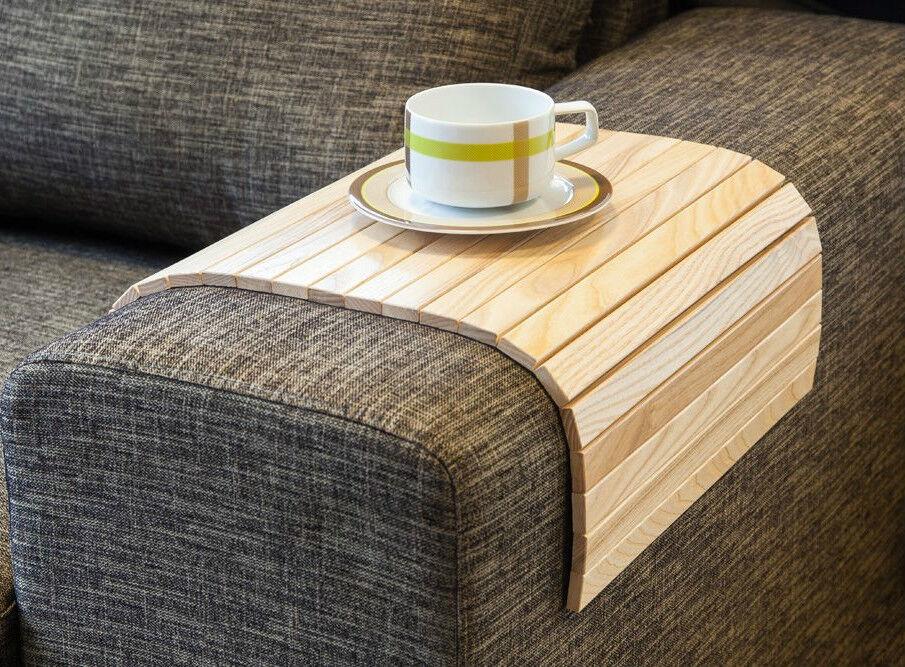 Canapé Plateau Tableau naturel, bois table de café, accoudoir table, Housse pour canapé