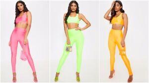 HonnêTe Femme Femmes Crop Top Et Stretch Gym Leggings Deux Pièces Yoga Activewear Set Uk-afficher Le Titre D'origine