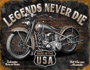 Details about Legends Never Die Tin Sign Harley Davidson Gift Motorcycle Shop Garage Picture