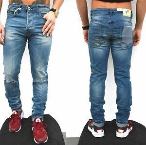 Freeside Herren Biker Jeans destroyed frayed stonewashed Pant Hose RED PERLE PAF