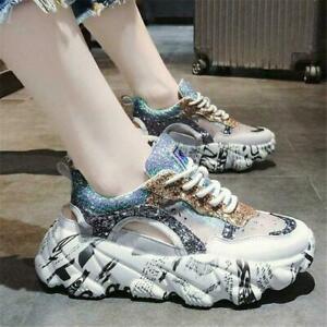 Bling-Glitter-Sneaker-Womens-Platform-Wedge-Heels-Sport-Sandals-Athletic-shoes-T