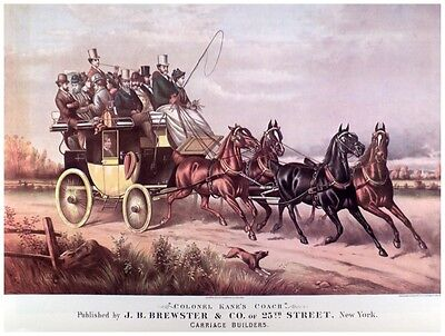 9149..J B Brewster /& co.horses pull on carriage.POSTER.decor Home Office art