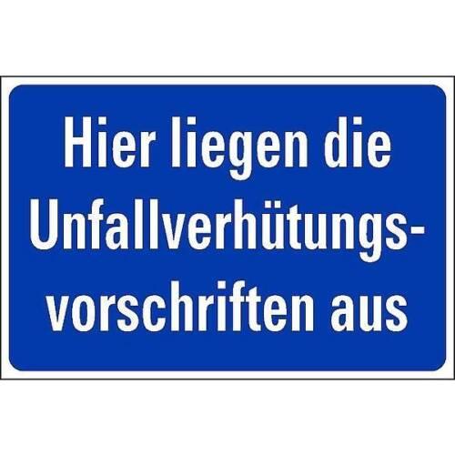 Schild Hinweis auf Unfallverhütungsvorschriften 300x200mm Alu