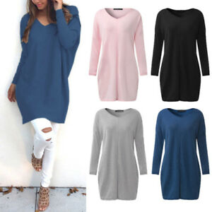ZANZEA-8-24-Women-Plus-Size-Pullover-Jumper-Club-Party-Short-Mini-Sweater-Dress