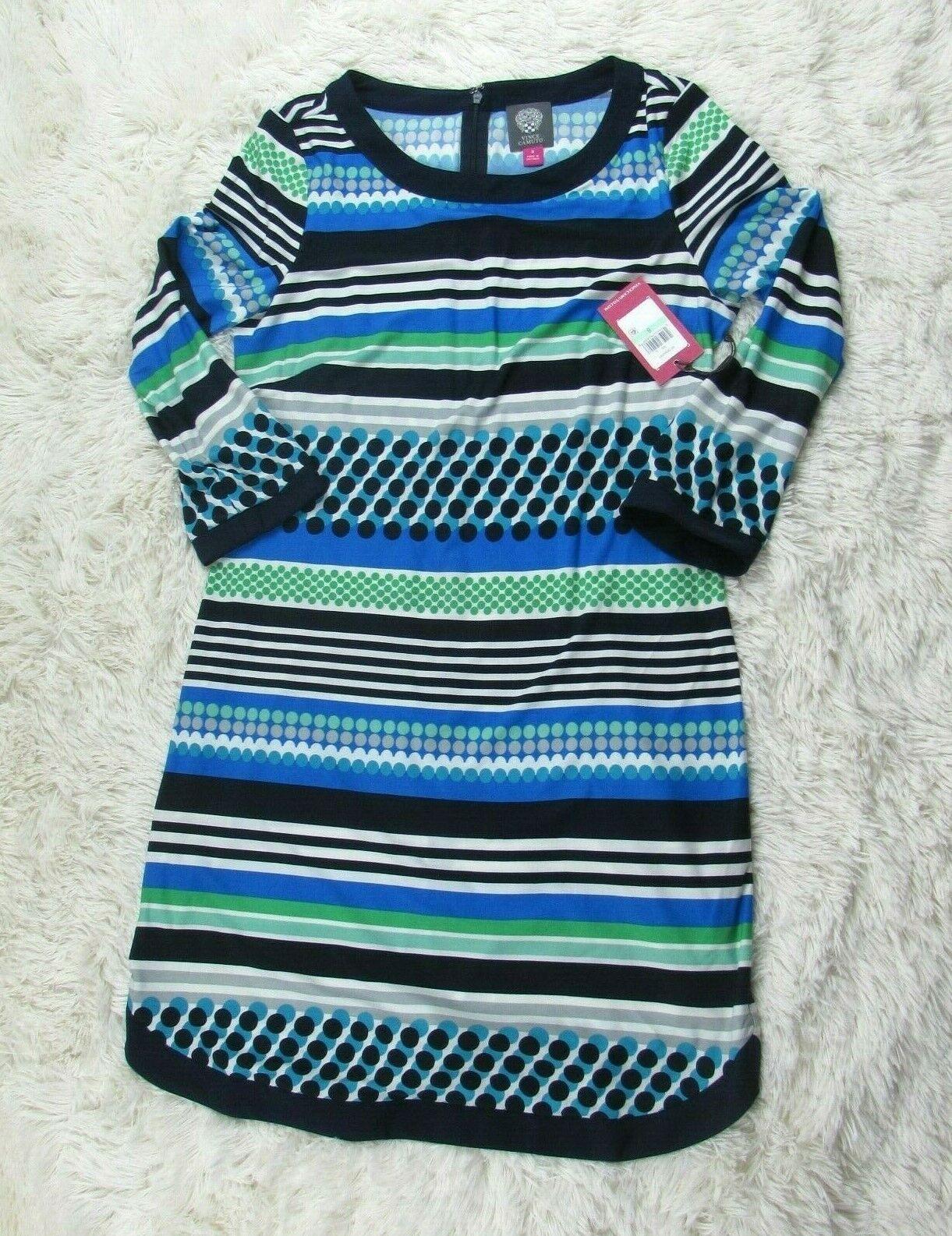 Vince Camuto Woherren Dress Dotted Stripe Jersey Stretch Summer Größe 8