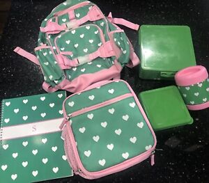 Pottery Barn Kids Mackenzie Pink Green Heart Backpack