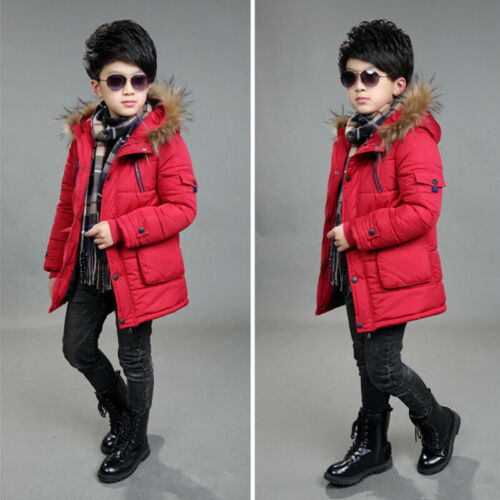 Kid Boy Padded Quilted Puffer Coat Jacket Hooded Parka Warm Winter Xmas Snowsuit
