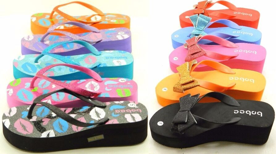 Women Glitter Rubber Slipper Flip Flop Wedge Thong Summer Beach Slipper Rubber Sandals Shoes e7cf19