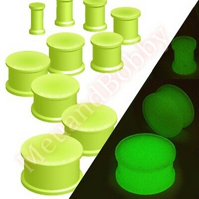 Glow in the Dark Silicone Flexible Double Flared Ear Plug CHOOSE SINGLE OR PAIR