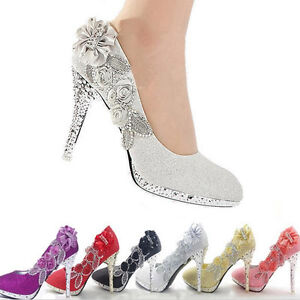 d9520542f3d Women Bride High Heel Wedding Club Party Shoes Flower Crystal ...