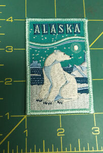 Embroidered-Alaska-Patch-Polar-Bear-in-winter-scene-teal-blue-white-NICE