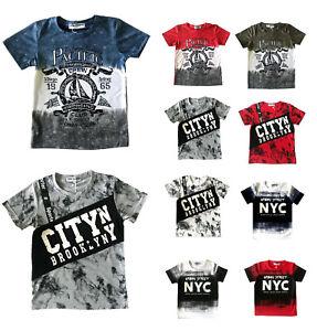 Boys-039-Kids-Casual-Cotton-Urban-Designer-Look-Stretch-Short-Sleeve-T-Shirts-Tops