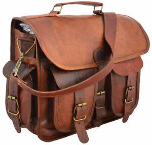 Men/'s Vintage Brown Leather Half Flap Messenger Laptop Satchel Shoulder Bag