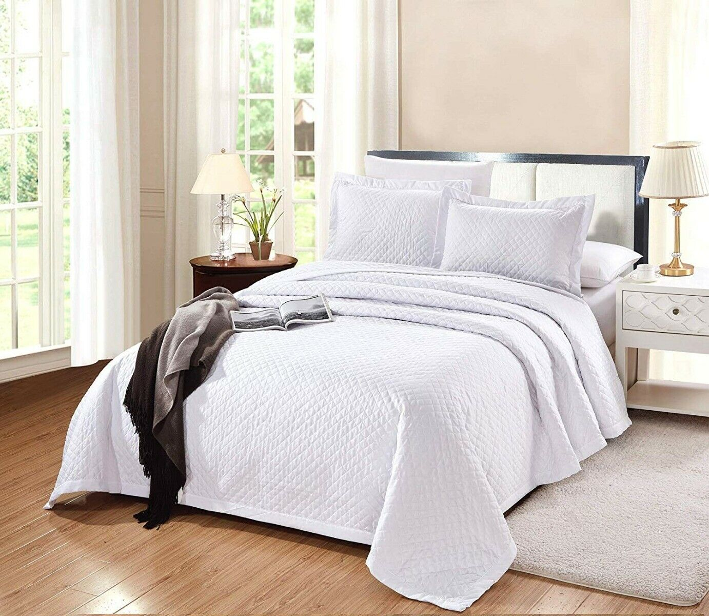 3 PC King Size Naples Quilt Solid White Soft Microfiber Coverlet Bedspread