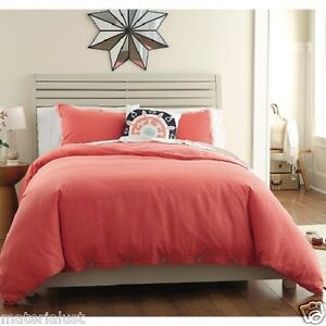 New Threshold Washed Linen Duvet Set 3 Piece Set Coral