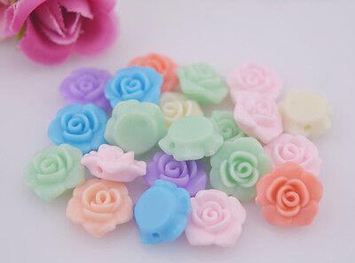 MIX 30pcs Resin Rose Flower flatback Wedding Craft Bead DIY