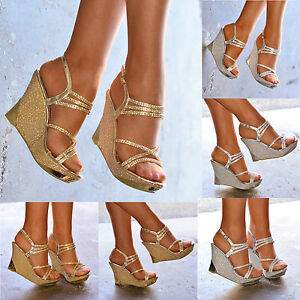 Ladies Sparkly Wedges Womens High Heel Strappy Evening ... 9c41d32c6