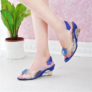 702095ef76d Womens Clear Slingbacks Rhinestone Wedge Heel Shoes Peep Toe Flower ...