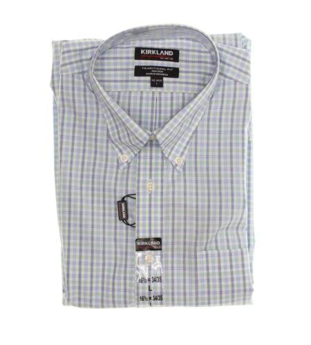 Kirkland Men/'s 100/% Cotton Non-Iron Traditional Fit Dress Shirt Plaid//Check