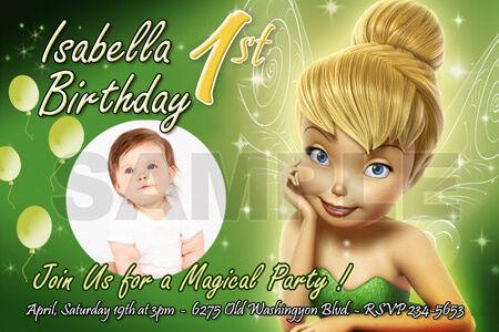 Tinkerbell Fairies Birthday Party Invitation Photo 1st Invite Card
