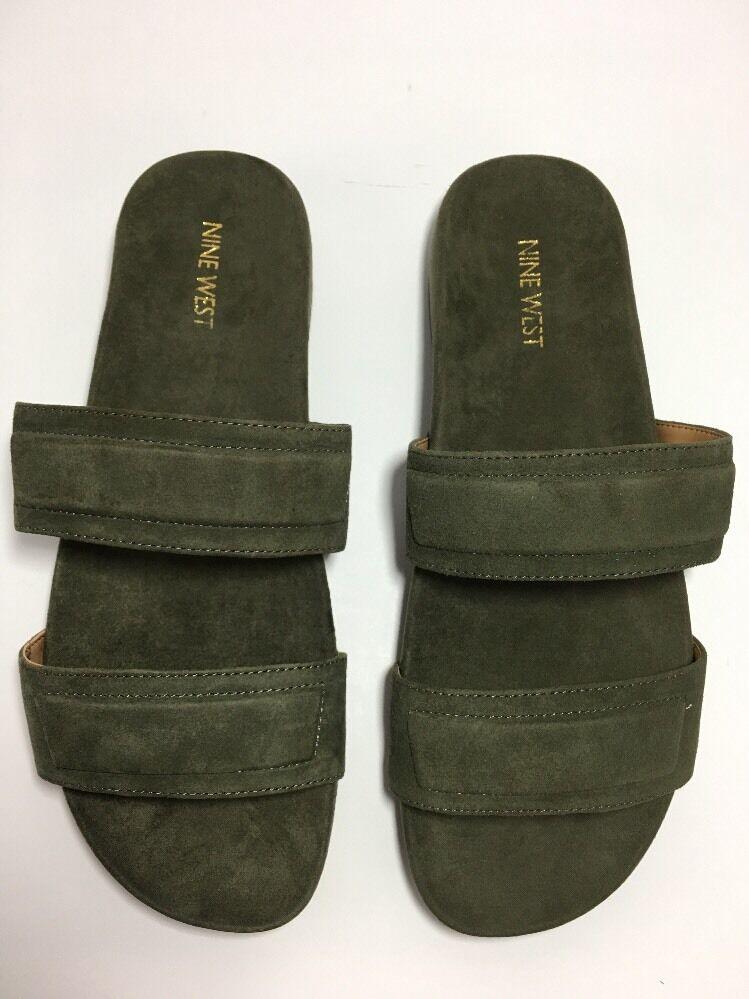 Nine West Dark Green 9 1/2 M Slide Sandals Leather Suede Zylan New With Box