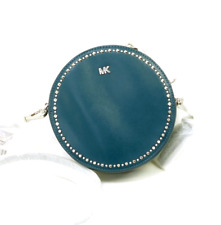 Michael Kors Medium Luxe Teal Leather Studded Canteen Circle Crossbody