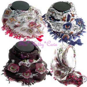 Ethnique Batik Style Floral Lotus Imprimé Foulard Bandana Foulard ... 3af9e51d194