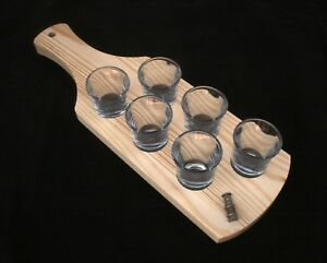 Davy Lamp Set of 6 Shot Glasses with Wooden Paddle Tray Holder KywF35Ve-09172405-996413231