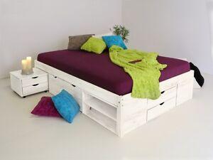 Details zu CLAAS Funktionsbett Doppelbett Bett mit Stauraum Schubladen  Kiefer Weiß 180x200