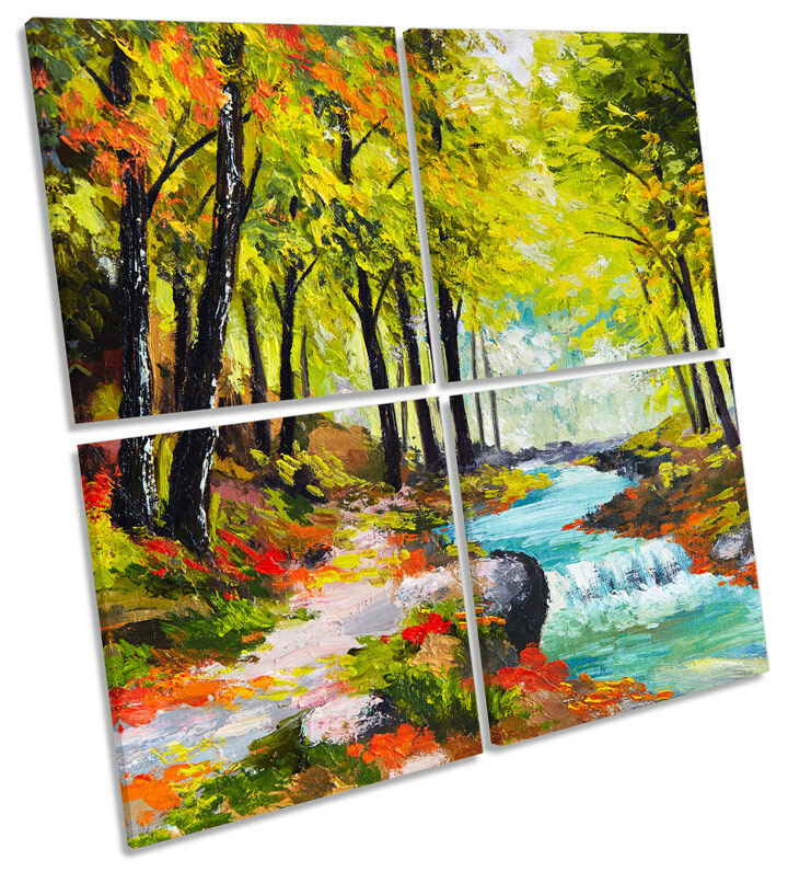 Forest River Fine Art pared paisaje MULTI LONA pared Art arte Foto Cuadrado 33001a