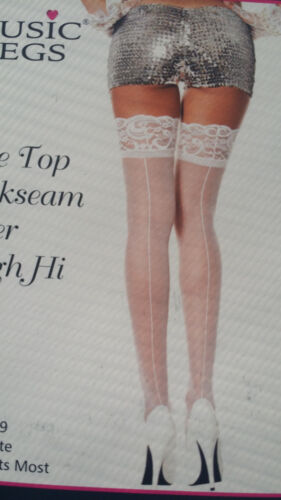 Music Legs Thigh High Stockings Lace Topper Plus Backseam White Beige Red 4119