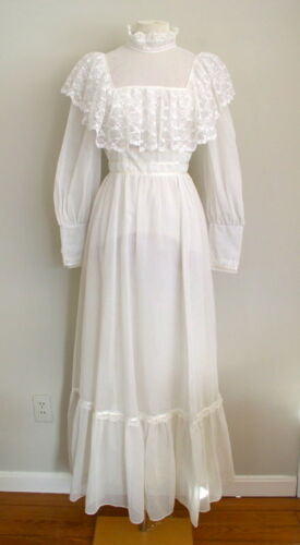 Vintage 1970s Candi Jones Dress Ivory Edwardian Gi